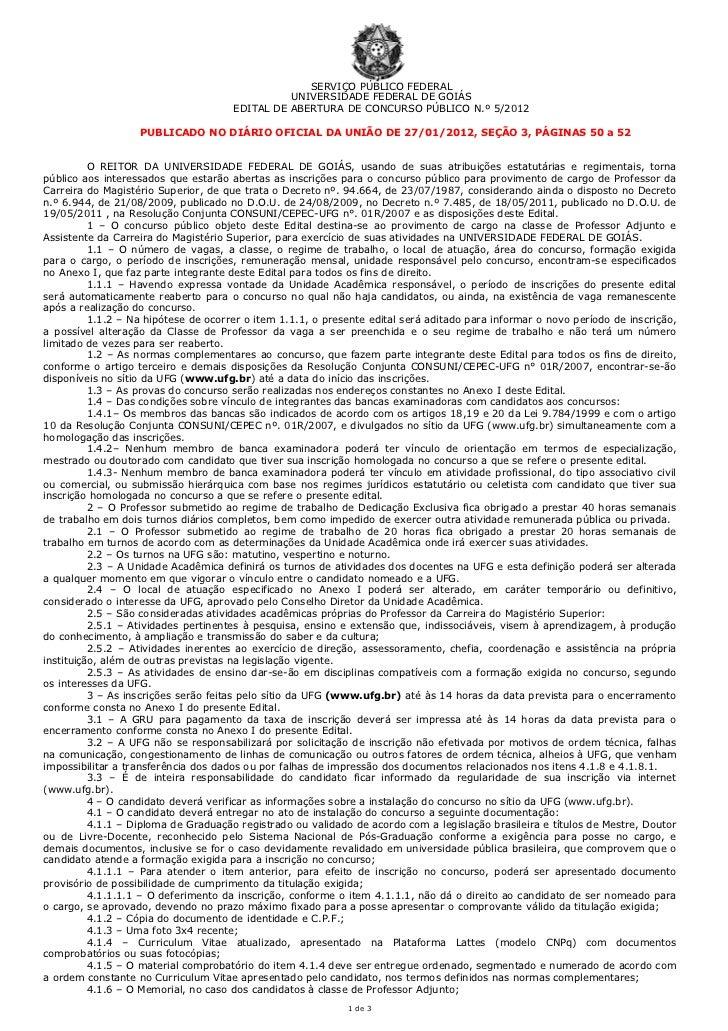 SERVIÇO PÚBLICO FEDERAL                                                UNIVERSIDADE FEDERAL DE GOIÁS                      ...