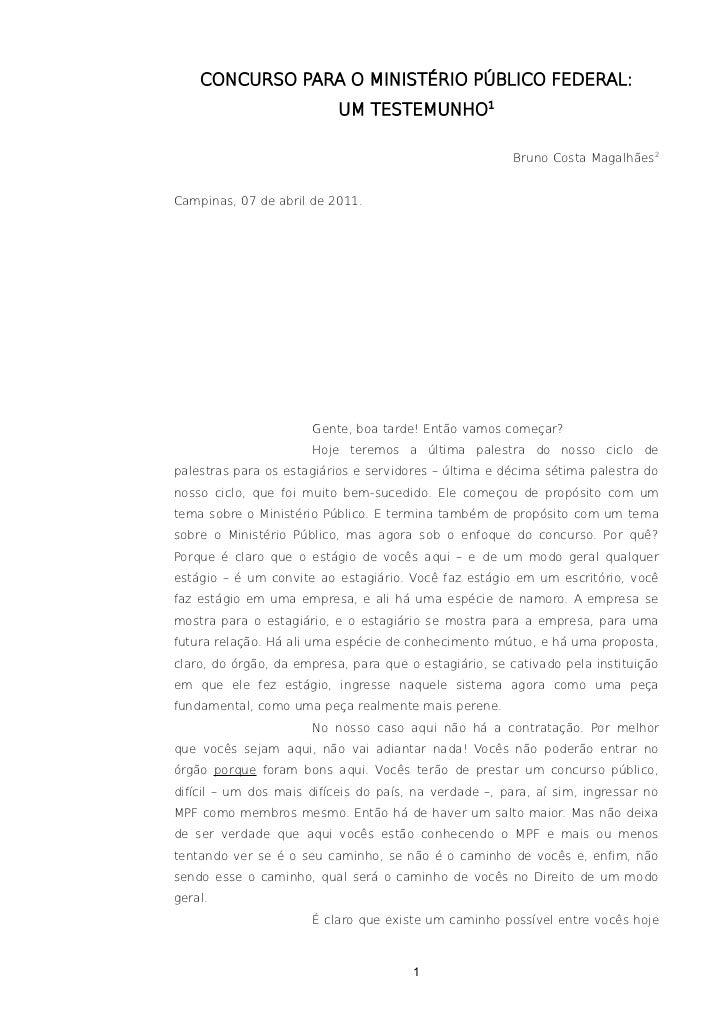 CONCURSO PARA O MINISTÉRIO PÚBLICO FEDERAL:                           UM TESTEMUNHO1                                      ...