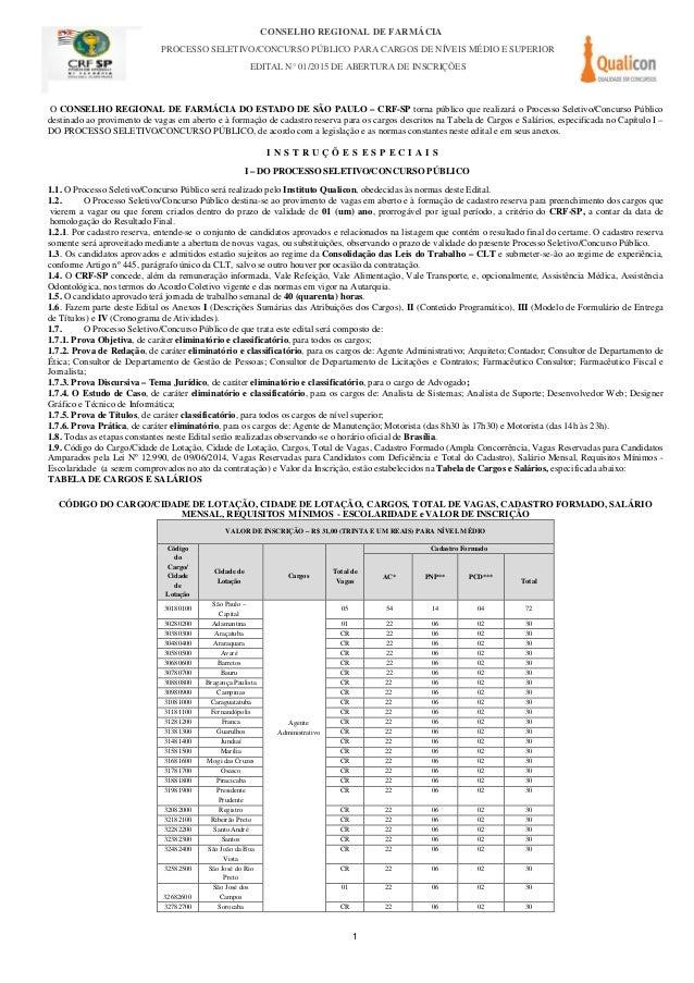 CONSELHO REGIONAL DE FARMÁCIA PROCESSO SELETIVO/CONCURSO PÚBLICO PARA CARGOS DE NÍVEIS MÉDIO E SUPERIOR EDITAL N° 01/2015 ...