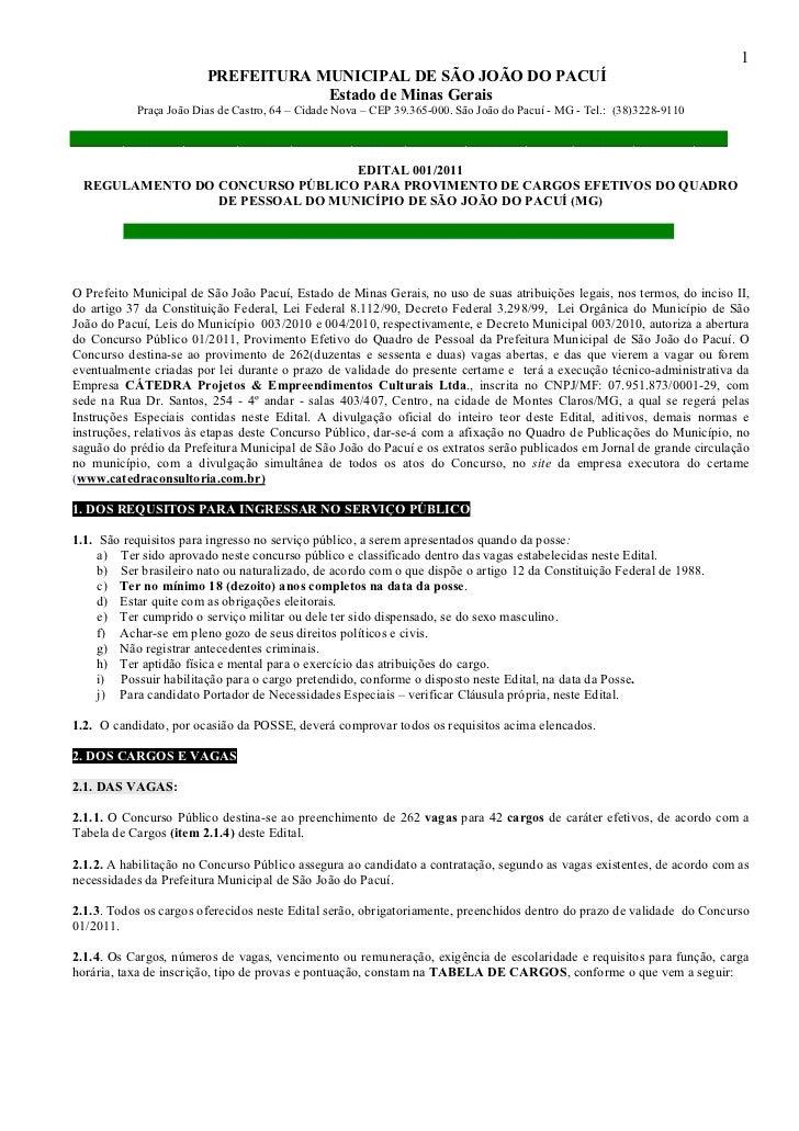 1                        PREFEITURA MUNICIPAL DE SÃO JOÃO DO PACUÍ                                    Estado de Minas Gera...