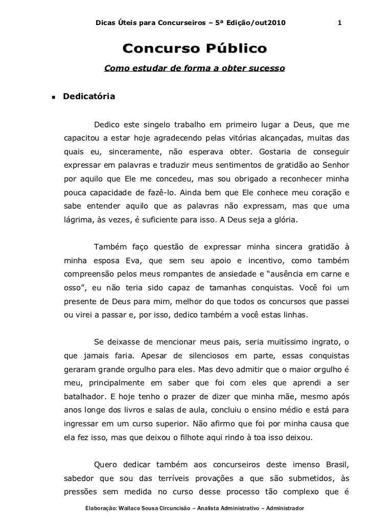 Dicas Úteis para Concurseiros – 5ª Edição/out2010                              1                      Concurso Público    ...