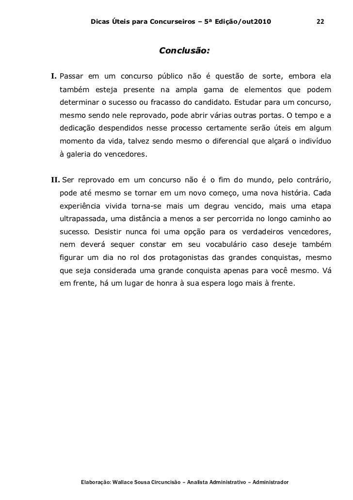 Dicas Úteis para Concurseiros – 5ª Edição/out2010                              22                                    Concl...