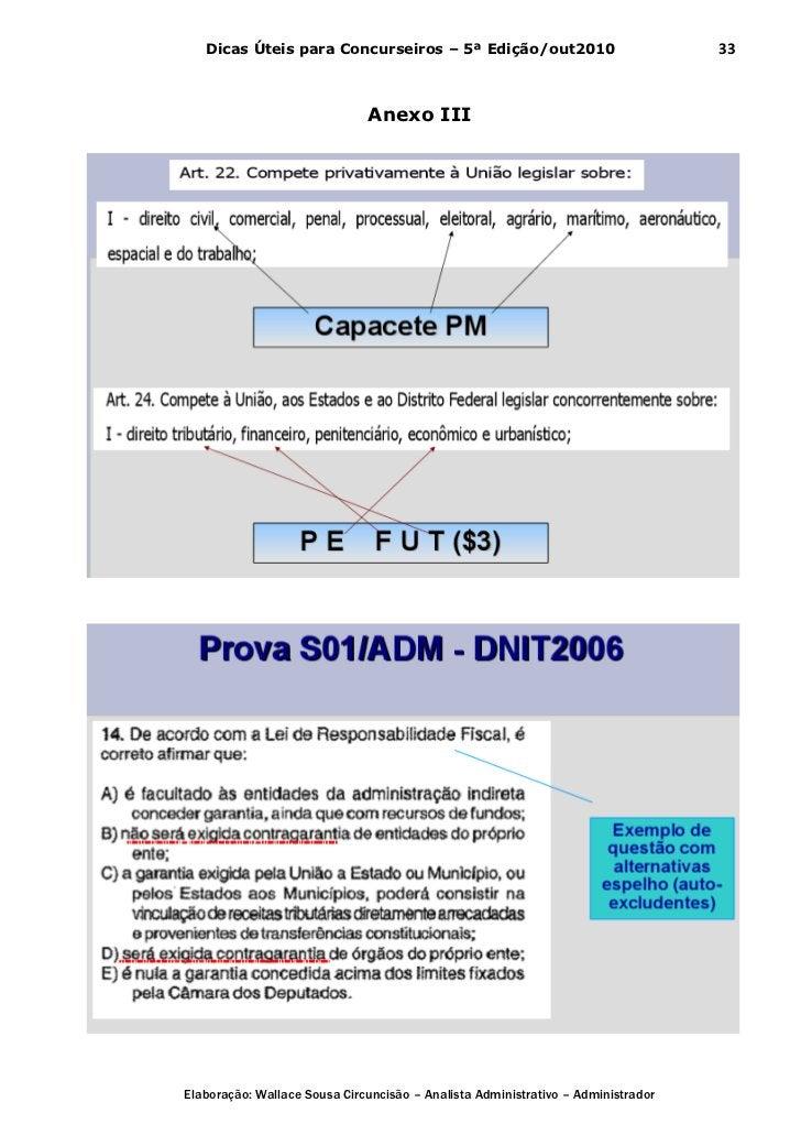 Dicas Úteis para Concurseiros – 5ª Edição/out2010                              33                              Anexo IIIEl...