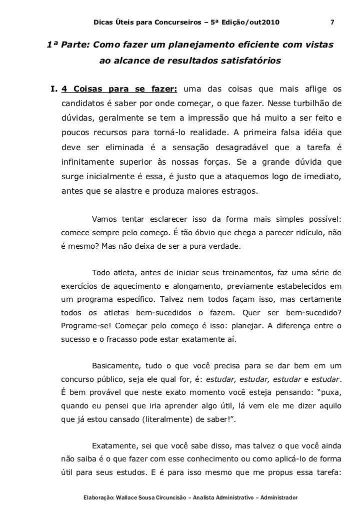 Dicas Úteis para Concurseiros – 5ª Edição/out2010                              71ª Parte: Como fazer um planejamento efici...