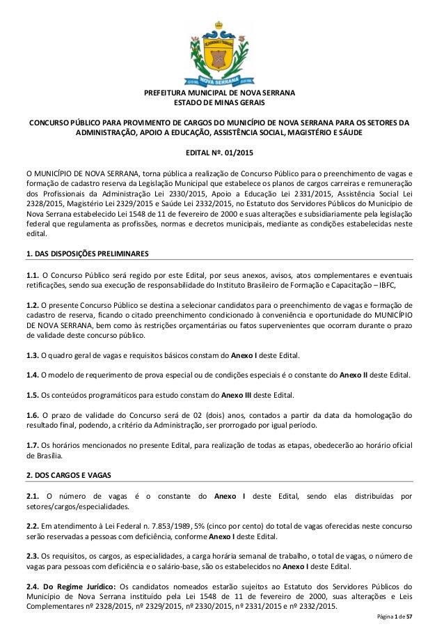 Página 1 de 57 PREFEITURA MUNICIPAL DE NOVA SERRANA ESTADO DE MINAS GERAIS CONCURSO PÚBLICO PARA PROVIMENTO DE CARGOS DO M...