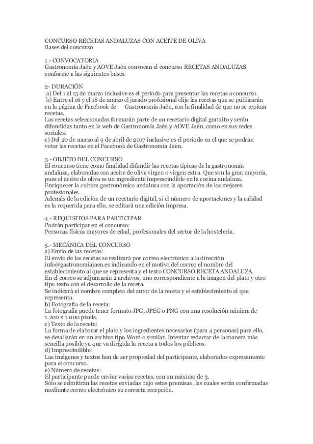 CONCURSO RECETAS ANDALUZAS CON ACEITE DE OLIVA Bases del concurso 1.- CONVOCATORIA Gastronomía Jaén y AOVE Jaén convocan e...