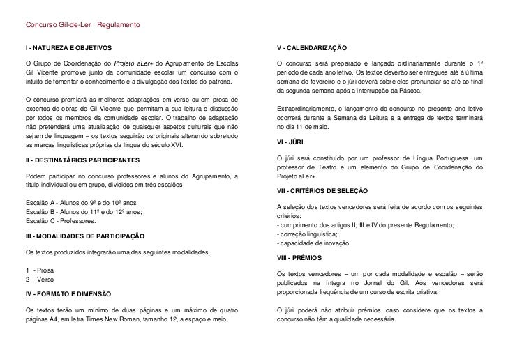 Concurso Gil-de-Ler | RegulamentoI - NATUREZA E OBJETIVOS                                                   V - CALENDARIZ...