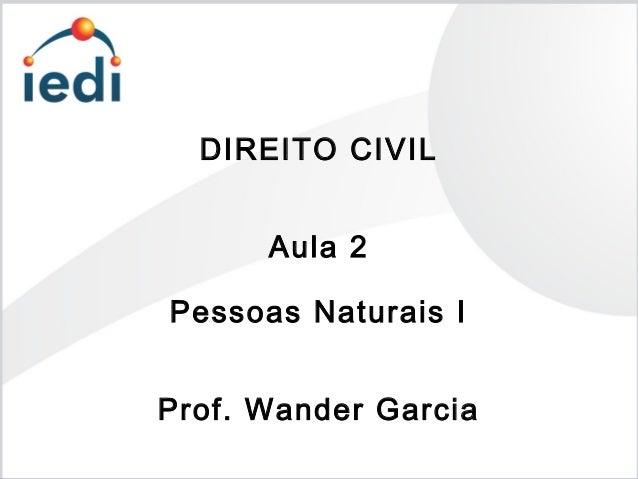 DIREITO CIVIL Aula 2 Pessoas Naturais I Prof. Wander Garcia