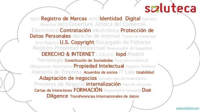 Registro de Marcas AGPD Identidad Digital Ejercicio Derechos ARCO Cobertura Jurídica del Comercio Electrónico Contratación...