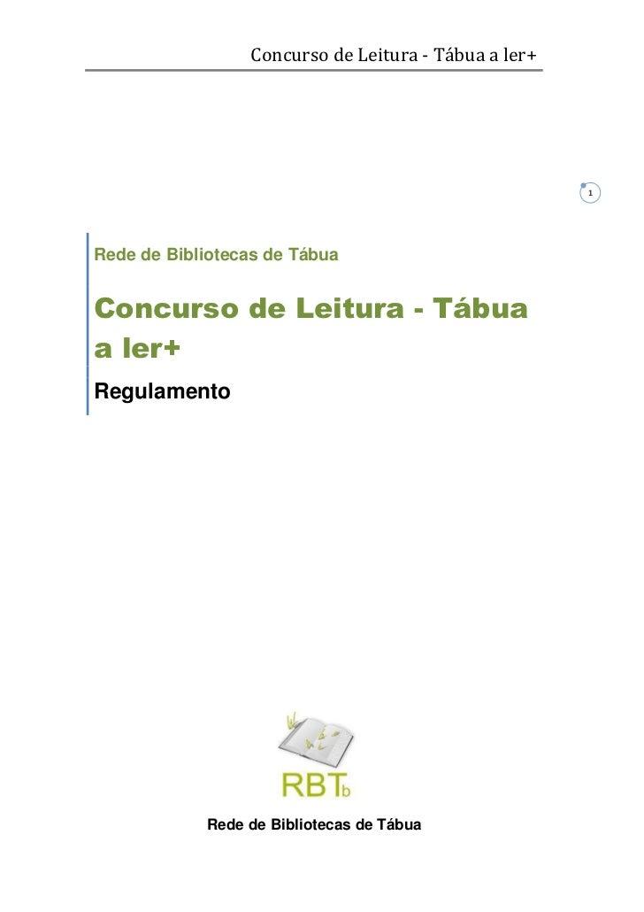 Concurso de Leitura - Tábua a ler+                                                      1Rede de Bibliotecas de TábuaConcu...