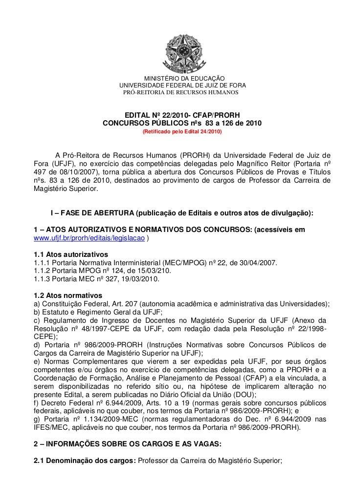 MINISTÉRIO DA EDUCAÇÃO                          UNIVERSIDADE FEDERAL DE JUIZ DE FORA                           PRÓ-REITORI...