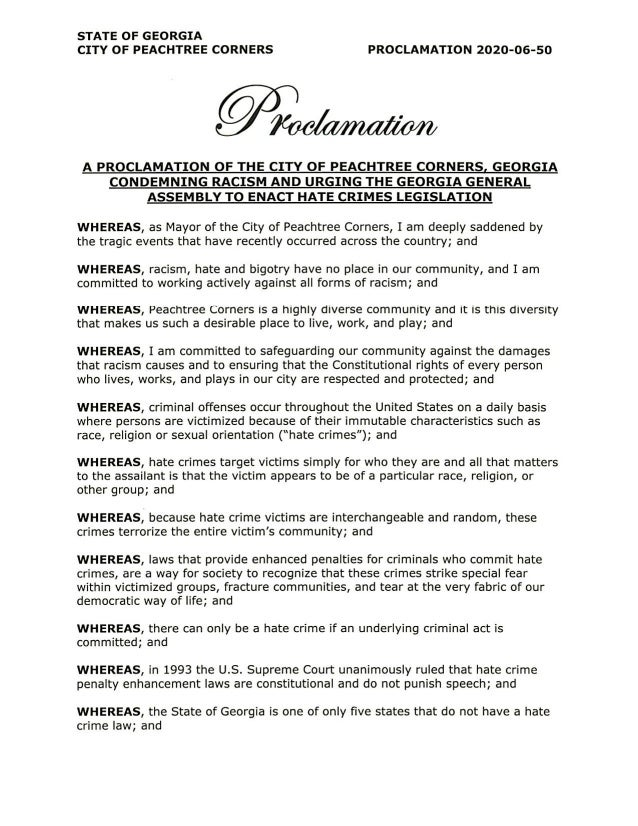 City of Peachtree Corners Condemning racism proclamation