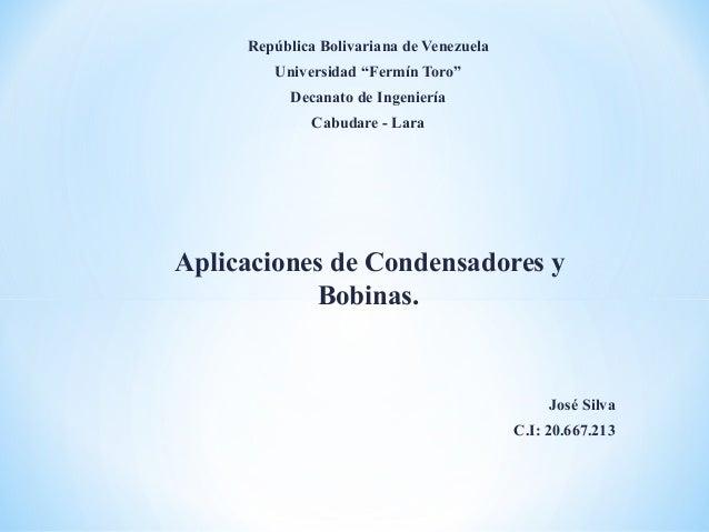 """República Bolivariana de Venezuela         Universidad """"Fermín Toro""""            Decanato de Ingeniería               Cabud..."""