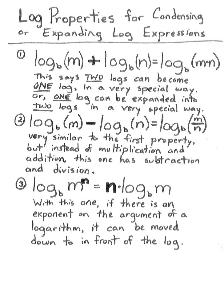 Condensing and Expanding Logarithms