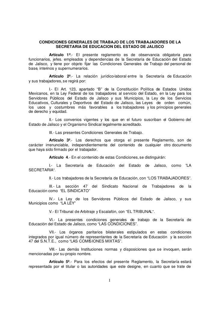 CONDICIONES GENERALES DE TRABAJO DE LOS TRABAJADORES DE LA            SECRETARIA DE EDUCACION DEL ESTADO DE JALISCO       ...