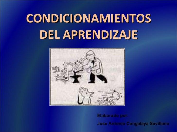 CONDICIONAMIENTOS DEL APRENDIZAJE Elaborado por: Jose Antonio Cangalaya Sevillano