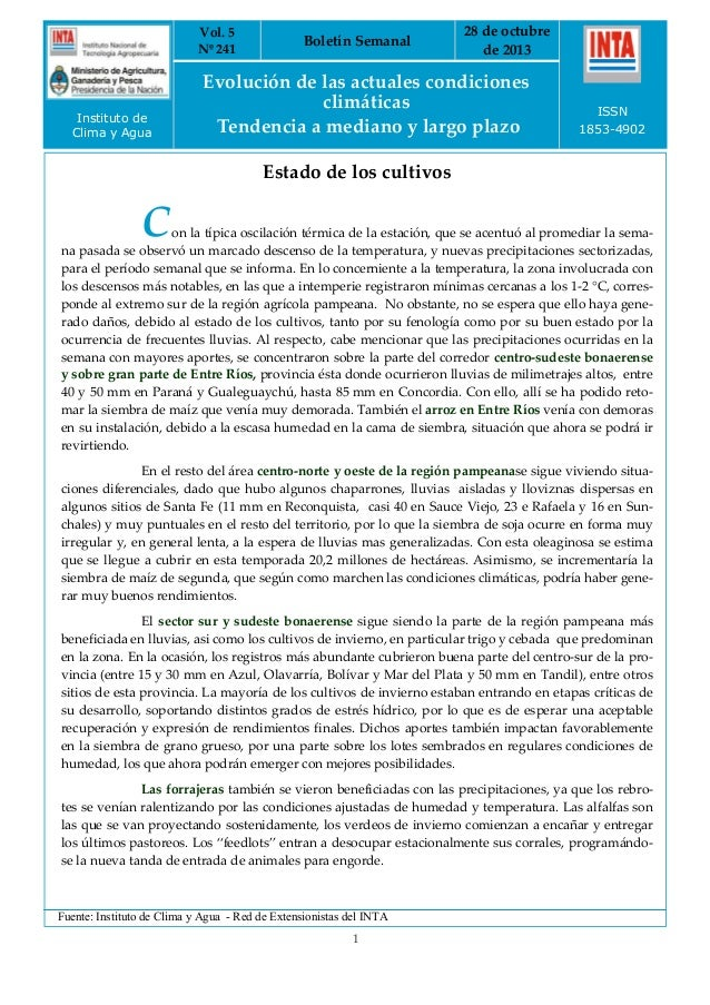 Vol. 5 Nº 241  Instituto de Clima y Agua  Boletín Semanal  28 de octubre de 2013  Evolución de las actuales condiciones cl...