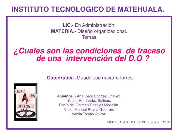 INSTITUTO TECNOLOGICO DE MATEHUALA.<br />LIC.- En Administración.<br />MATERIA.- Diseño organizacional.<br />Temas <br />¿...