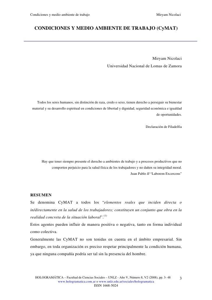 Condiciones y medio ambiente de trabajo cymat en pdf for Ambiente de trabajo