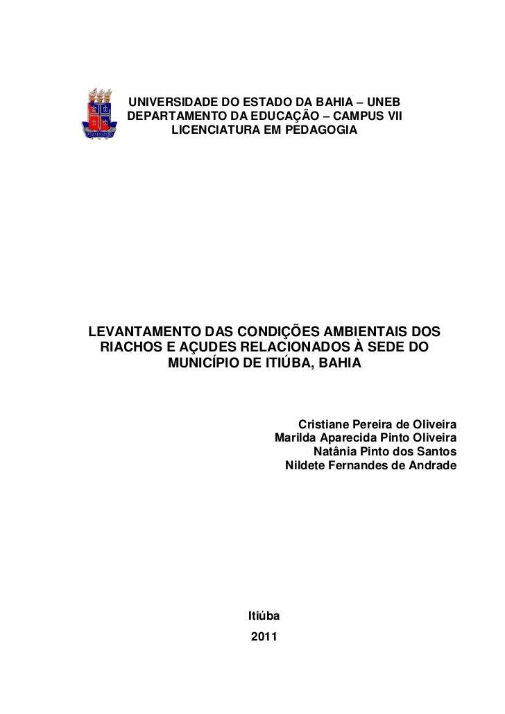 UNIVERSIDADE DO ESTADO DA BAHIA – UNEB    DEPARTAMENTO DA EDUCAÇÃO – CAMPUS VII          LICENCIATURA EM PEDAGOGIALEVANTAM...