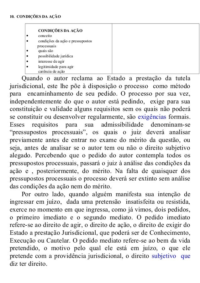 10. CONDIÇÕES DA AÇÃO CONDIÇÕES DA AÇÃO • conceito • condições da ação e pressupostos processuais • quais são • possibilid...