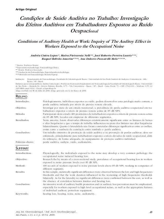 Artigo Original  Condições de Saúde Auditiva no Trabalho: Investigação  dos Efeitos Auditivos em Trabalhadores Expostos ao...