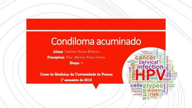 Condiloma acuminado Aluna: Isadora Souza Ribeiro Preceptora: Dra. Márcia Pucci Green Etapa: 9 Curso de Medicina da Univers...