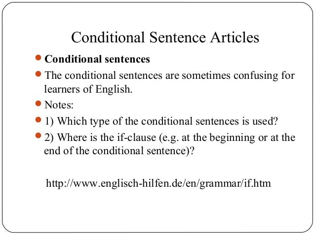 Conditional sentences article on
