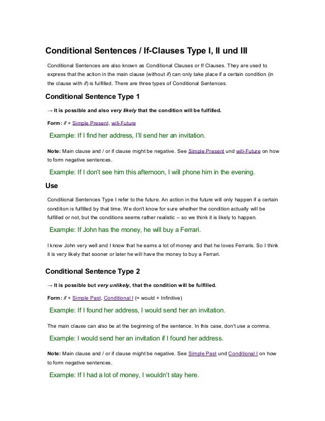 Conditional Sentences / If-Clauses Type I, II und III Conditional Sentences are also known as Conditional Clauses or If Cl...