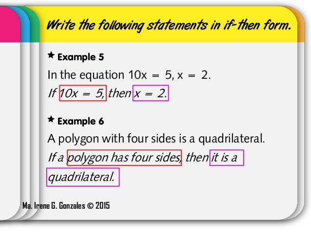Conditional Statements  IfThen Statements