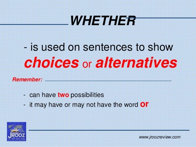 how to use whether in a sentence
