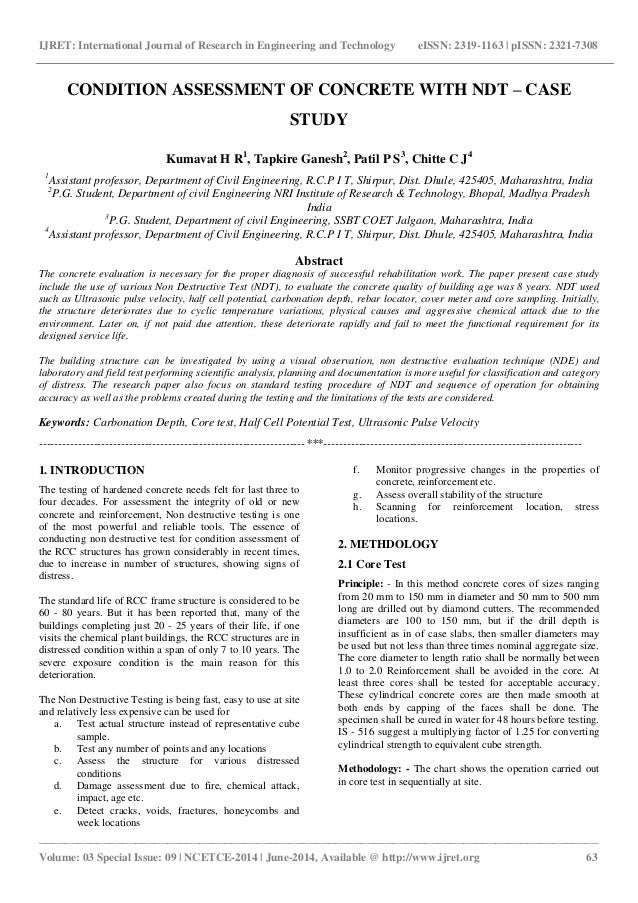 Condition assessment of concrete with ndt – case