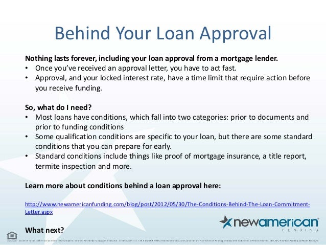 Conditions Behind Loan Approval, Your First Step to a Mortgage