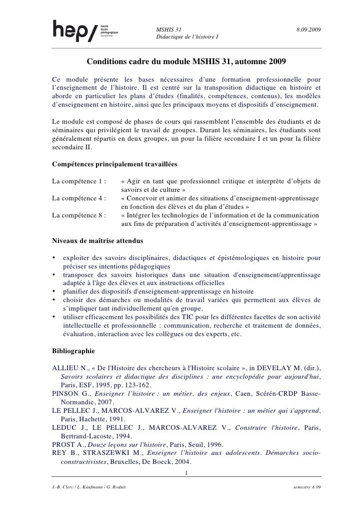 MSHIS 31                                       8.09.2009                                              Didactique de l'hist...