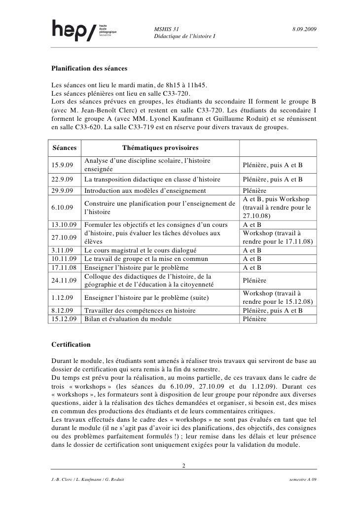 MSHIS 31                                      8.09.2009                                              Didactique de l'histo...