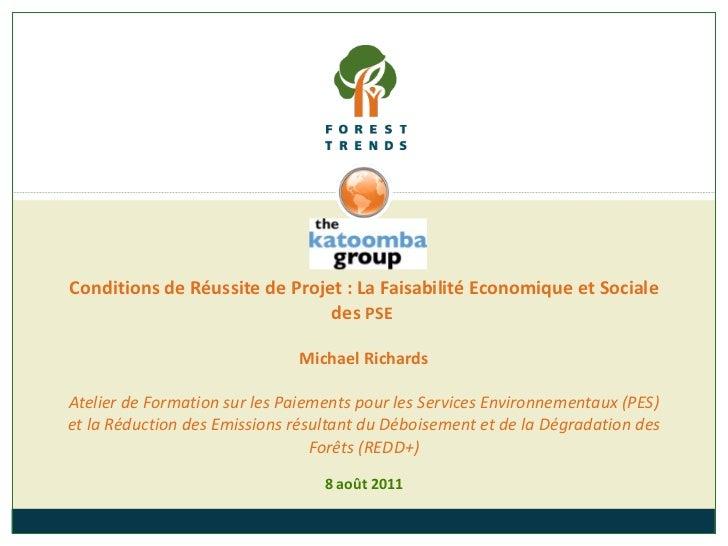 8  août  2011 Conditions de Réussite de Projet : La Faisabilité Economique et Sociale des  PSE  Michael Richards Atelier d...