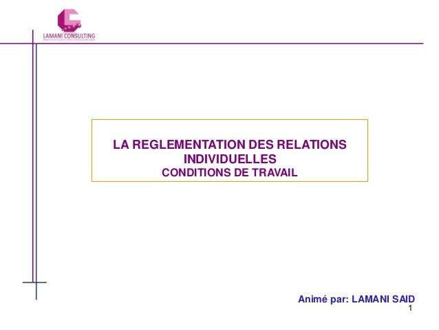 LA REGLEMENTATION DES RELATIONS INDIVIDUELLES CONDITIONS DE TRAVAIL  Animé par: LAMANI SAID 1
