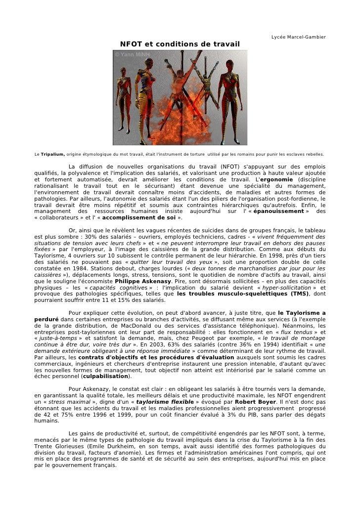 Lycée Marcel-Gambier                                         NFOT et conditions de travail     Le Tripalium, origine étymo...