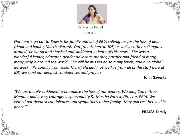 Condolence Messages For Martha Farrell