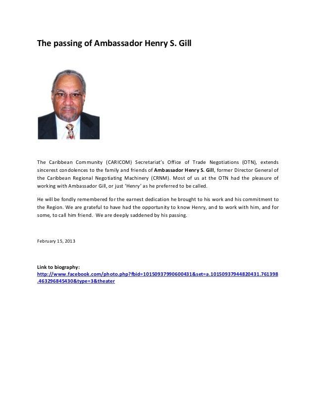 ThepassingofAmbassadorHenryS.Gill                            The Caribbean Community (CARICOM) Secretariat's...