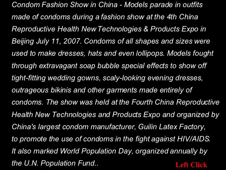 Condom Fashion Show in China - Models parade in outfits  made of condoms during a fashion show at the 4th China  Reproduct...