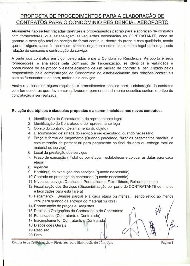 PROPOSTA DE PROCEDIMENTOS PARA A ELABORAÇÃO DE  CONTRATOS PARA O CONDOMINIO RESIDENCIAL AEROPORTOAtualmente não se tem tra...