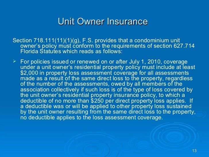 What does Florida statute chapter 718 cover?