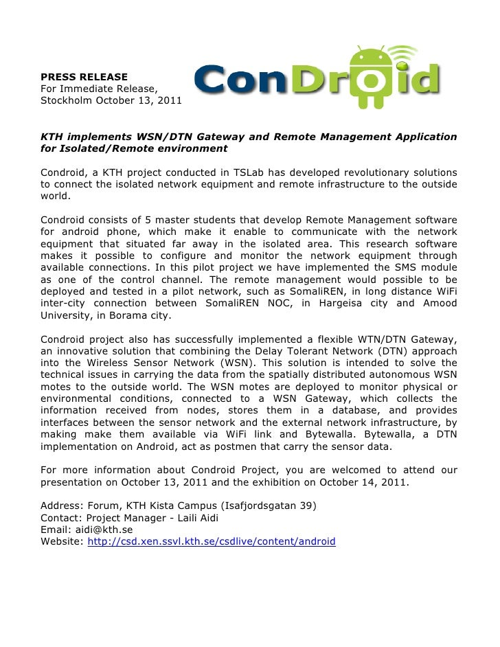 PRESS RELEASEFor Immediate Release,Stockholm October 13, 2011KTH implements WSN/DTN Gateway and Remote Management Applicat...