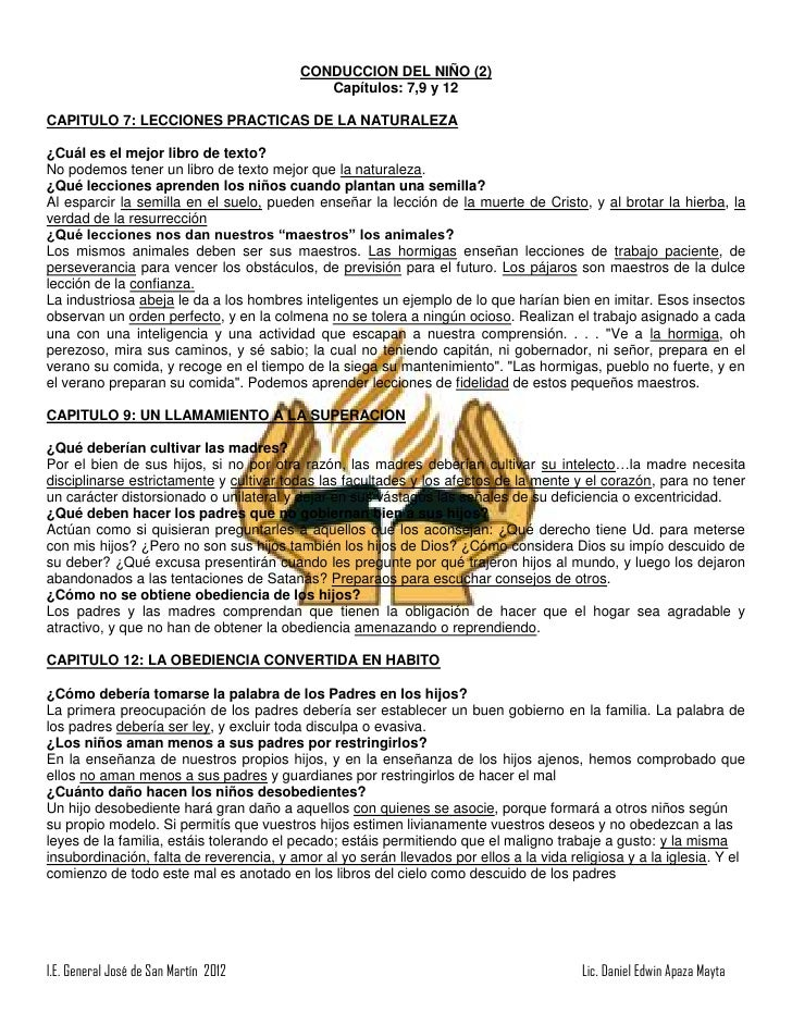 CONDUCCION DEL NIÑO (2)                                             Capítulos: 7,9 y 12CAPITULO 7: LECCIONES PRACTICAS DE ...