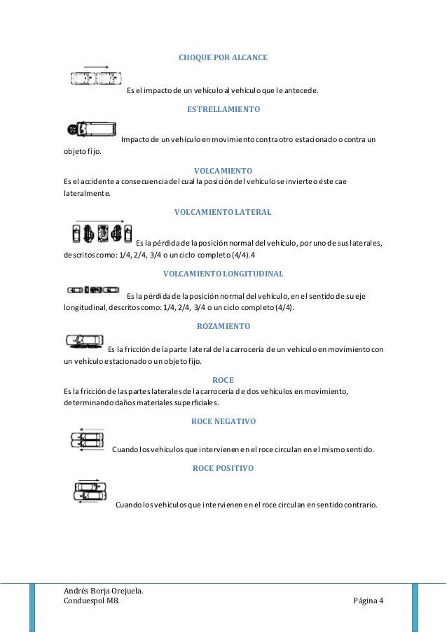 Andrés Borja Orejuela. Conduespol M8. Página 4 CHOQUE POR ALCANCE Es el impactode unvehículoal vehículoque le antecede. ES...