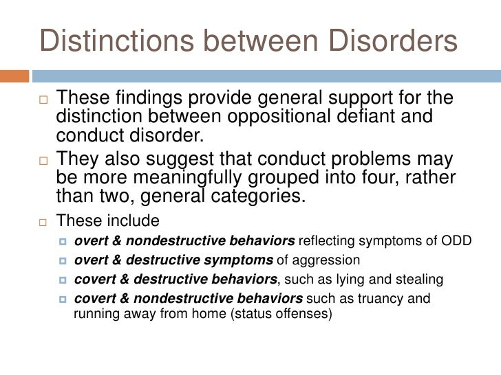 program for the prevention of the oppositional defiant disorder odd and the conduct disorder cd Prevention and management of behavior problems in this 'fact sheet' on oppositional defiant disorder such as 'conduct disorder' and 'children's.
