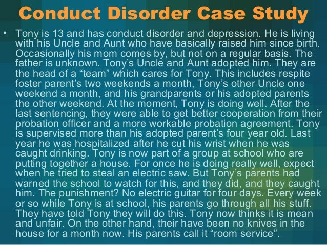 case study on a child who is oppositional defiant disorder Comments off on case study on oppositional defiant disorder jan 22 case studies, this study issue 2 will work together as a case studies show child with.