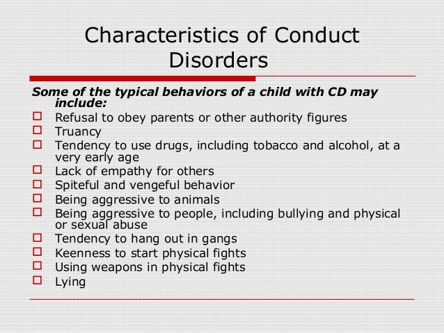 conduct disorder Preparations for the fifth edition of the diagnostic and statistical manual of mental disorders (dsm-5) are ongoing publication is planned in may 2013 and.
