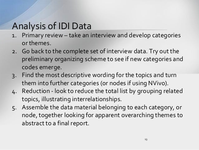 conducting  analyzing and reporting in depth interviews